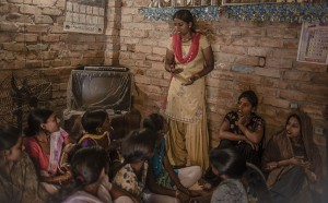Community leader, Pooja Bharti helped arrange for 35 toilets to be built in her village. Every month she holds menstrual hygienge managment sessions. Photo: WaterAid/ Poulomi Basu